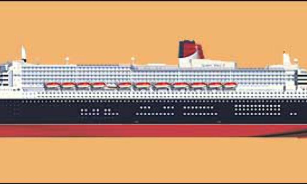 Queen Mary 2 slik hun skal fremstå om ett par år. Illustrasjon: Cunard Line
