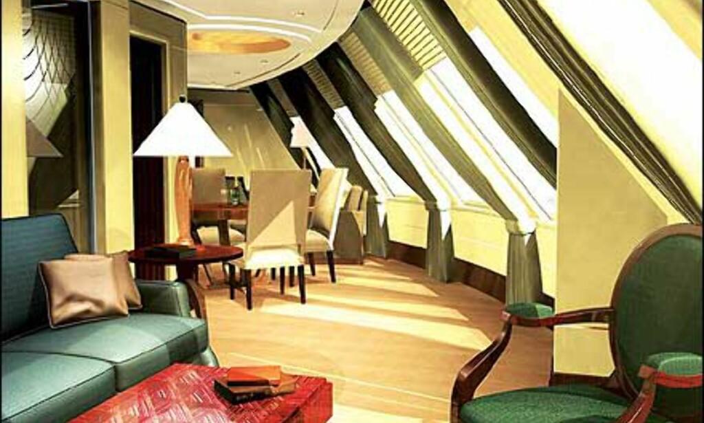 Royal Suite ombord på Queen Mary 2. Illustrasjon: Cunard Line