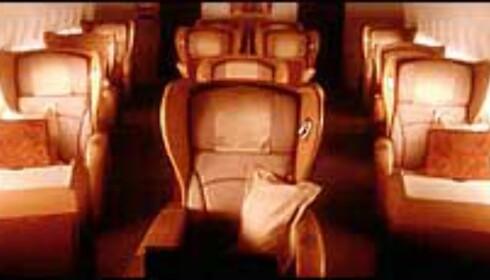 Setene ombord i Singapore Airlines førsteklasse ser forlokkende ut. Foto: singaporeair.com