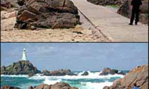 Store tidevannsforskjeller ved La Corbiére fyr på sydvestlige Jersey.