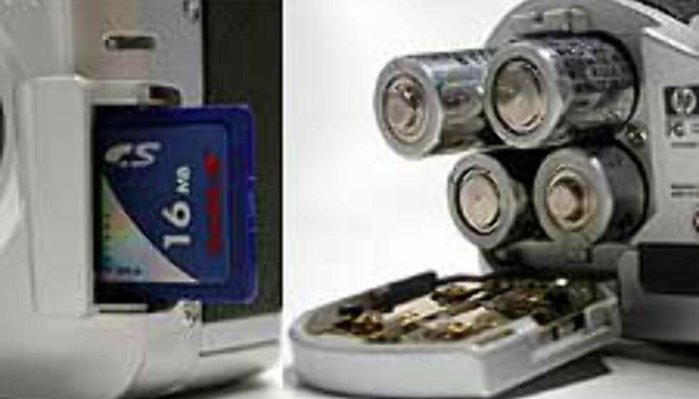 Minnekortet er av typen SD-Card, og batteriene som følger med er 4 vanlige av AA-typen.
