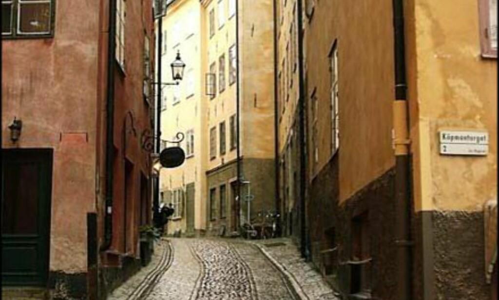 En av de små trange gatene i Gamla Stan.