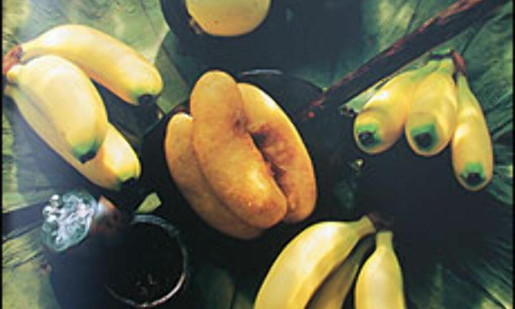 Sjelden har vel bananer sett så apetittvekkende ut.<br /> FAKSIMILE: Stiansens kulinariske koffert/Dinamo forlag