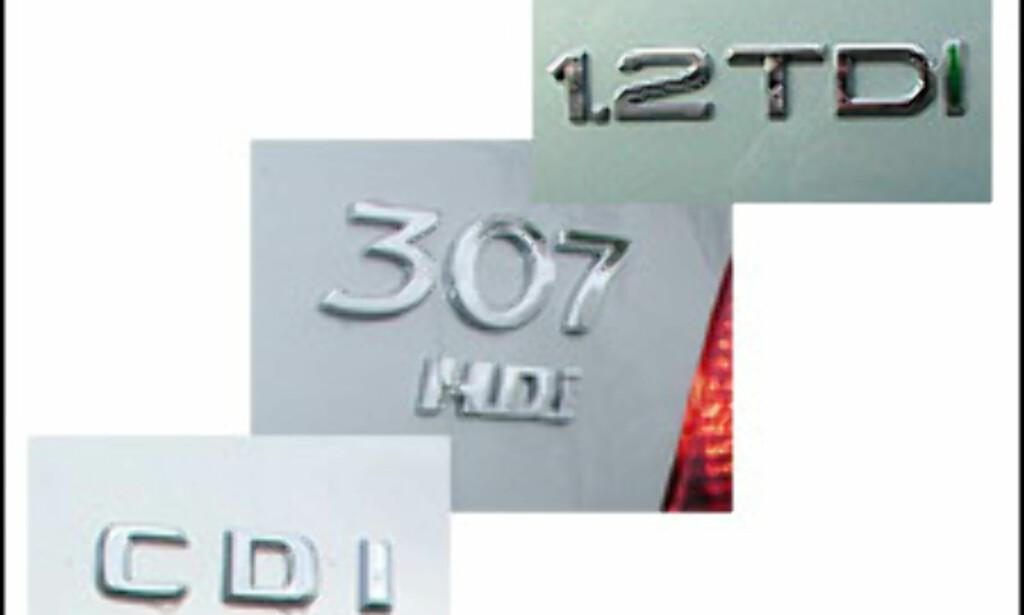 TALLRIKE BETEGNELSER: TDI, HDI, CDI, TCDi, TDdi, TiD, CRD, DI-D, TD, D og d. Dieselmotoren blir et stadig mer kjært barn og har fått mange navn.