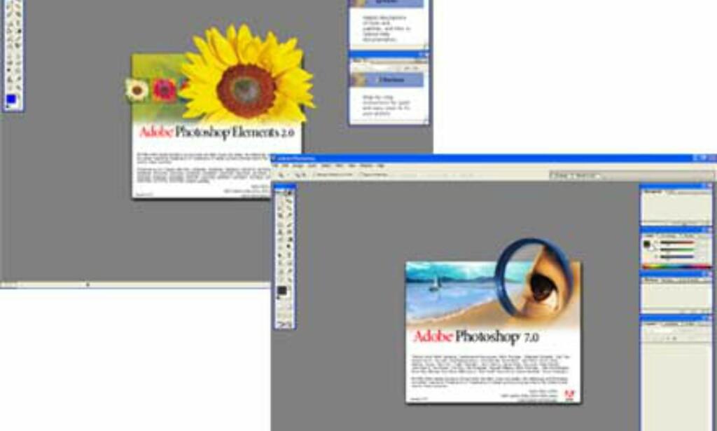 Likhetene med Photoshop 7.0 er klare, men ved nærmere øyesyn er det mange forskjeller.
