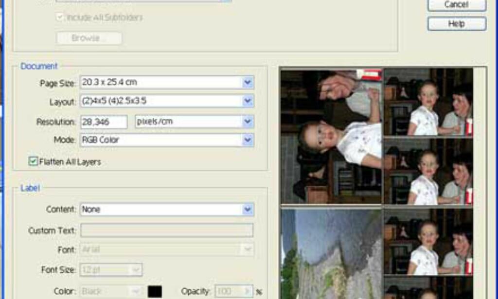 Picture Package ble introdusert allerede i første utgave av Photoshop Elements, og gir deg full kontroll på bilder som skal skrives ut. Du kan velge mellom en haug med forhåndsdefinerte maler.