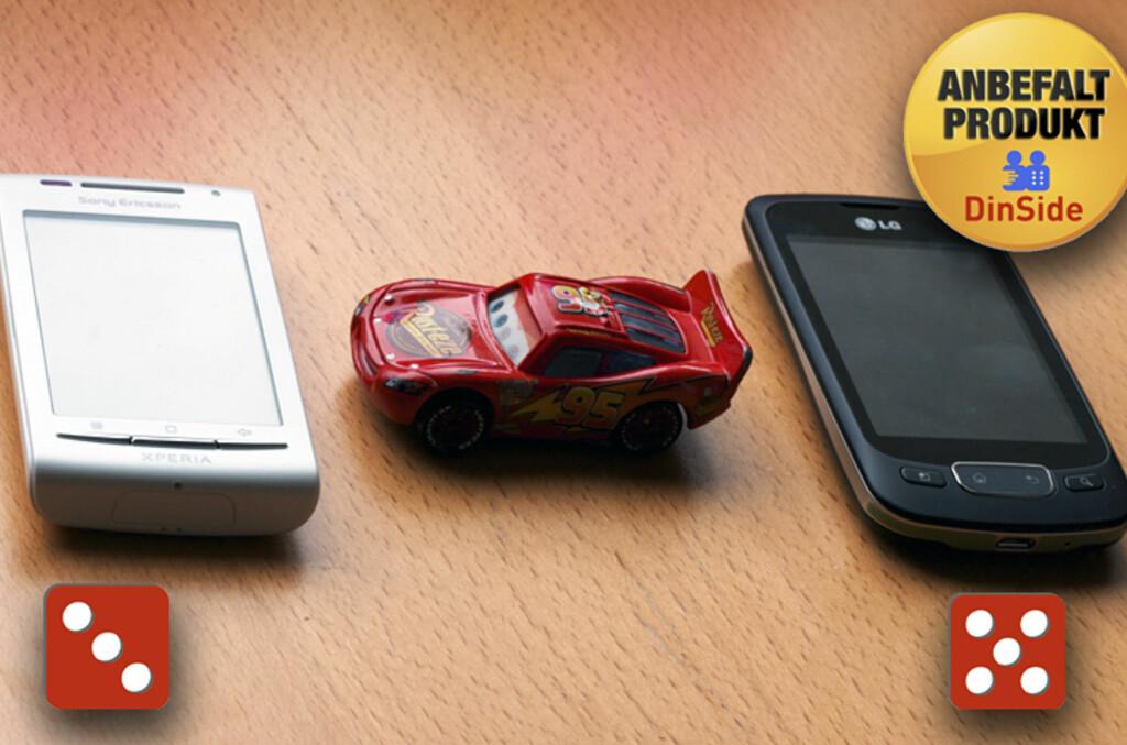 <B>BARE ÉN VINNER:</B> LG Optimus One er et mye bedre valg for budsjettbevisste Android-brukere enn Sony Ericsson Xperia X8, og den koster bare noen hundrelapper mer. Foto: Øivind Idsø