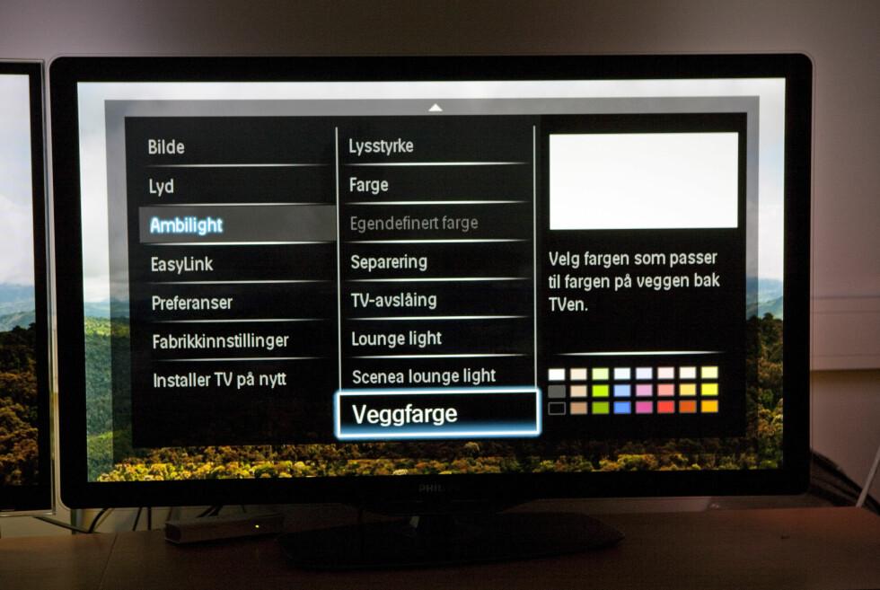 Philips meny: Ambilight klart forbedret i år. Nå kan du også få fullt utbytte selv om veggen din har andre farger enn hvit. Foto: Per Ervland