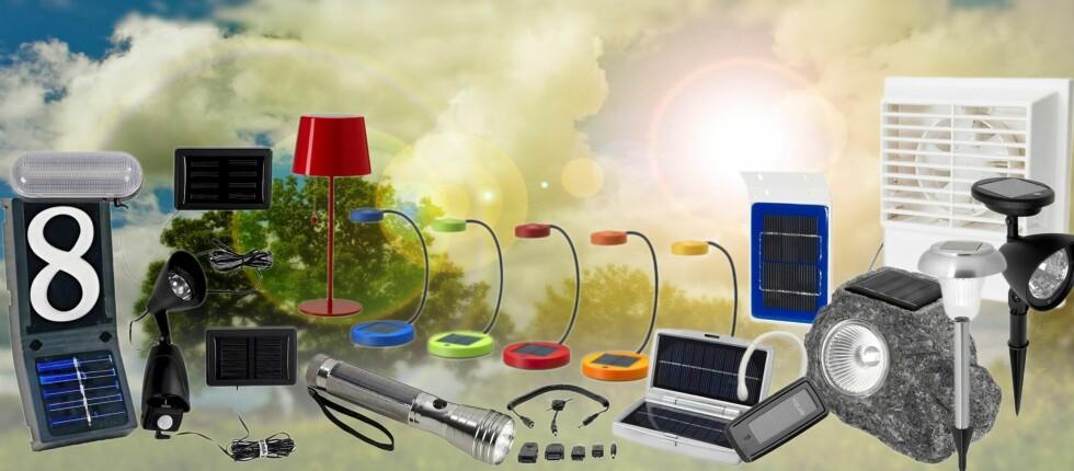 Det finnes i dag en hel masse mer eller mindre nyttige solcelle-baserte produkter på markedet. De svenske kjedene Biltema, Clas Ohlson, Ikea og Jula er blant aktørene som tilbyr mange rimelige produkter. Foto: Per Ervland