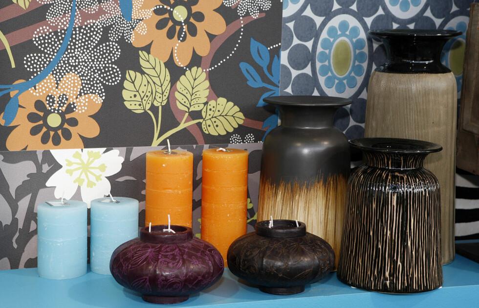 Lys og keramikk fra Broste, tapet fra Atex Decoration.  Foto: Per Ervland