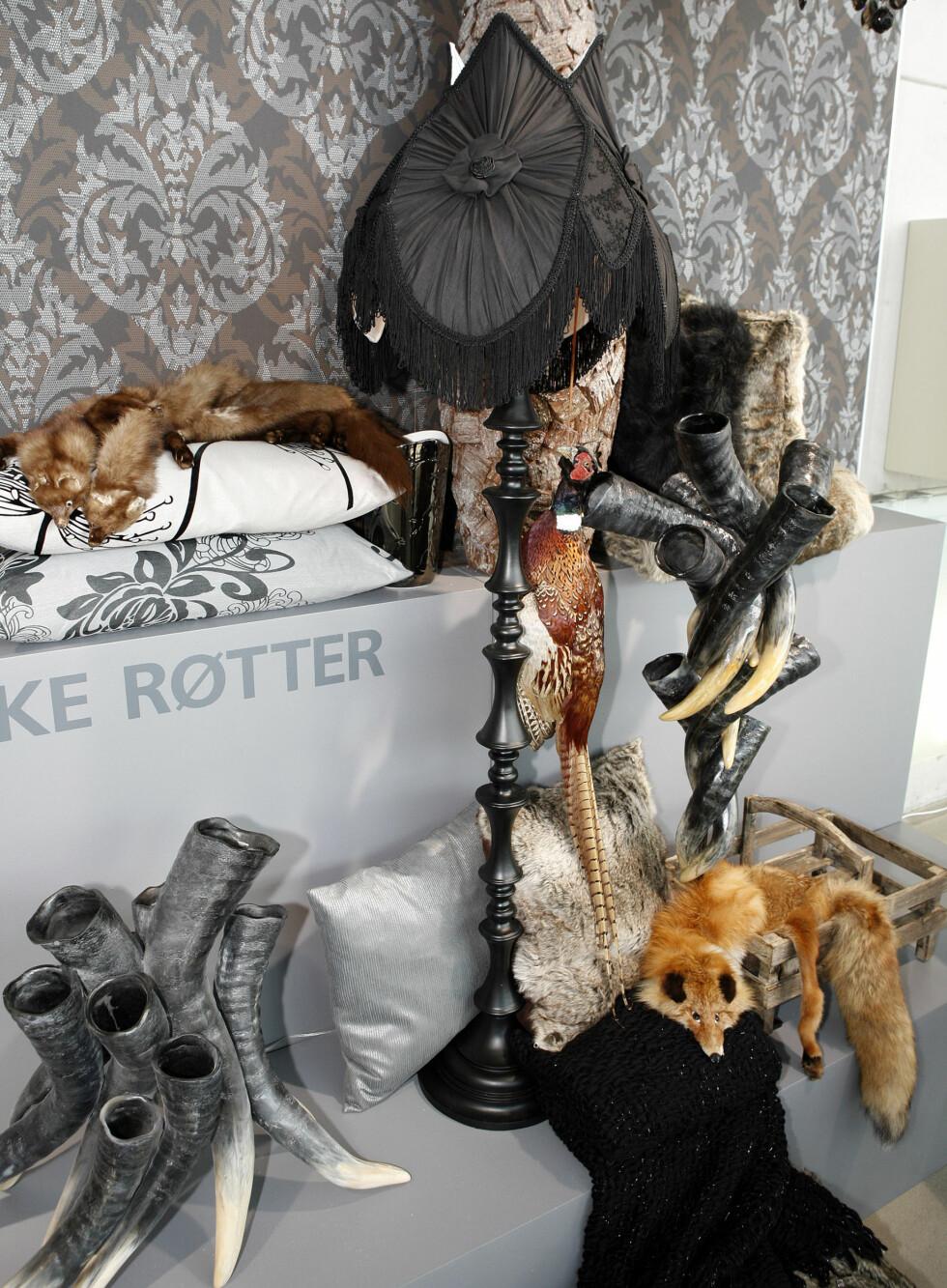 Hornvaser fra ShiShi, lampe fra Globen, puter fra Shishi, Alpaca Society og Au Maison, tapet fra Astex Decoration. (Dyrene, som fikk denne journalisten til å tenke på gamle og mørke britiske eller nederlandske malerier, var på utlån fra private.) Foto: Per Ervland