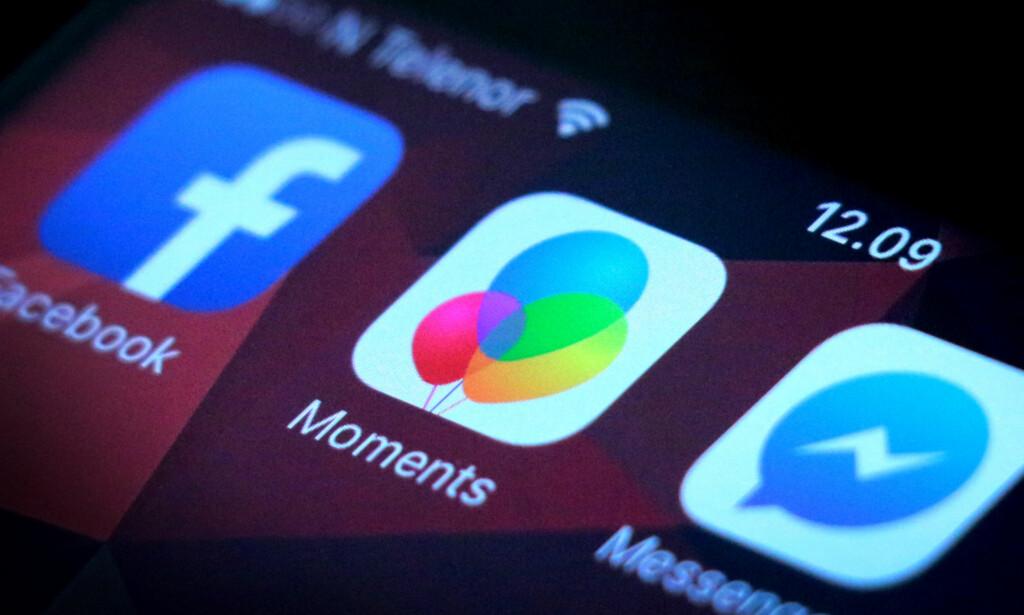 NOK EN APP: Facebooks Moments-app vil ha plass mellom Facebook- og Messenger-appen din. Foto: Ole Petter Baugerød Stokke