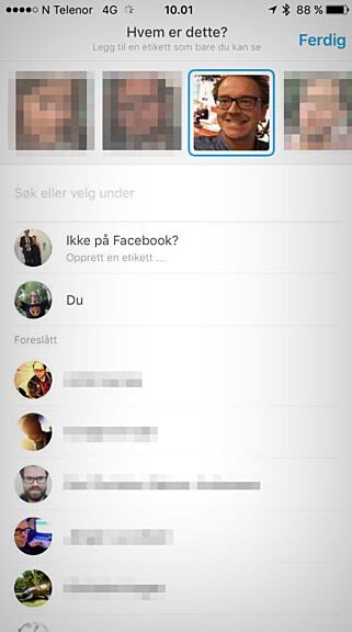 HVEM ER HVEM: Moments ber deg fortelle appen hvem som eier hvilke fjes, fra dine egne mobilbilder. Det tar litt tid. Foto: Ole Petter Baugerød Stokke