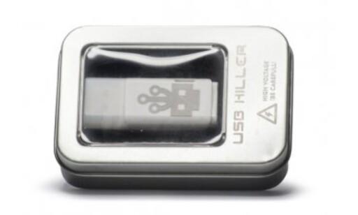 SKUMMELT: For en femhundrelapp kan hvem som helst kjøpe en minneplugg som ødelegger maskinen den stikkes inn i. Foto: USBKill