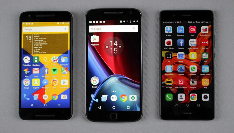 TRE MODELLER TESTET: Fra venstre, LG Nexus 5X, Motorola Moto G4 Plus og Huawei P9 Lite. Foto: Pål Joakim Pollen