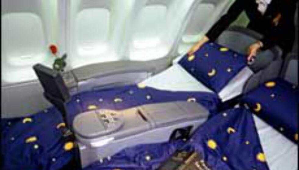 Her kan du innta horisontalen hos Lufthansa. Foto: NewsCast Foto: NewsCast