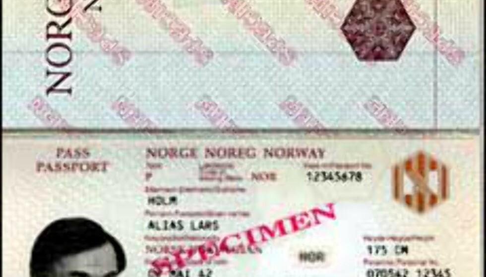 Eksempel på et maskinlesbart pass. Det er de to nederste linjene med koder som skiller et maskinlesbart pass fra et gammelt pass. Illustrasjon: Den amerikanske ambassade (usa.no) Foto: Den amerikanske ambassaden