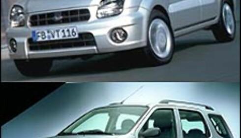ENEGGEDE: Nye Subaru Justy (over) og nye Suzuki Ignis er i praksis samme bil.