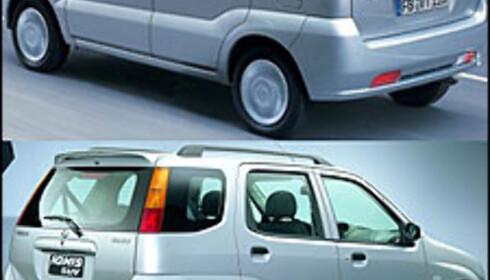 SMÅ FORSKJELLER: Velger du Subaru Justy (over) får du radio og store tåkelys, velger du Suzuki Ignis får du lettmetallfelger, takskinner og takspoiler.