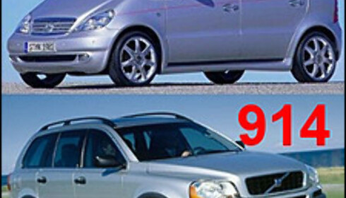 MERKELIG 1: Mercedes-Benz A-klasse (over): 1.740 liter. Volvo XC90: 914 liter.