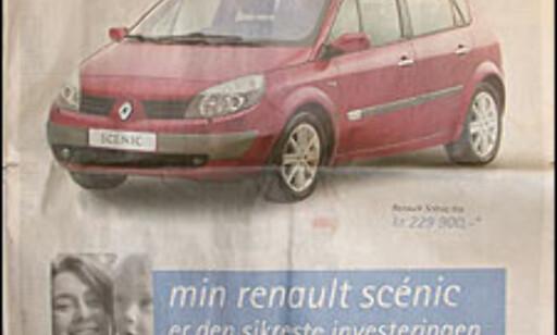 Se opp for denne annonsen. Renault Scenic vant ikke vår test av fleksibiler på TV2 Hjelper deg. Foto: Faksimile fra Aftenposten.