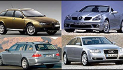 Alfa Romeo 156 Crosswagon, Mercedes-Benz SLK, BMW 5-serie Touring og Audi A6.