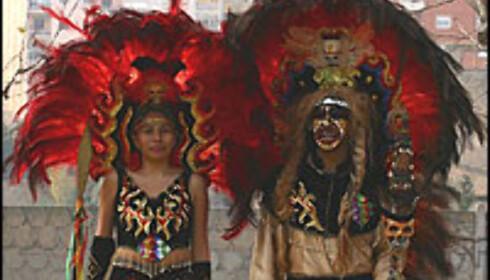 Qori Inkas - gullkongene - fra Bolivia i karnevalskostymer.  Foto: Miguel Alonso Cortiñas/ Penn med pepper Foto: Miguel Alonso Cortiñas/ Penn med pepper - kan ikke brukes