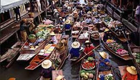 Flytende marked i Thailands hovedstad