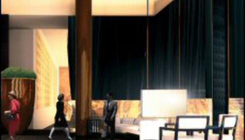 Svart marmor fra Zimbabwe kler veggene i lobbyen.