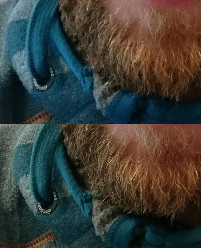 Ikke at frontkameraet på Xperia X Compact er dårlig, men vi får flere detaljer fra XZ (nederst) og de andre X-modellene. XZ-frontkameraet byr også på mer korrekte farger. Utsnittet fra XZ er tilpasset for å matche, men har i utgangspunktet høyere oppløsning.