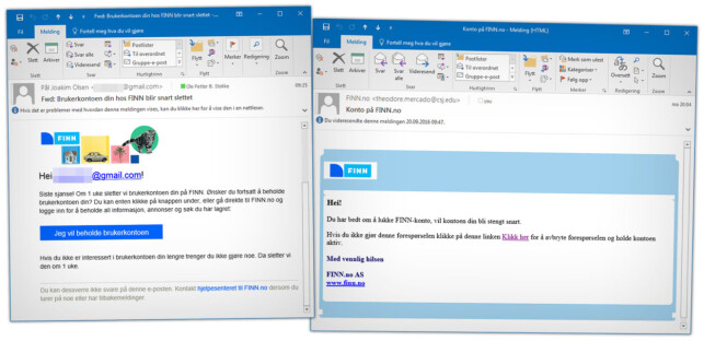 EKTE OG FALSK: Den falske Finn.no-e-posten er ikke like forseggjort som innloggingssida. Til venstre ser du en ekte e-post om stenging av en inaktiv konto, og til høyre den falske. Foto: Ole Petter Baugerød Stokke
