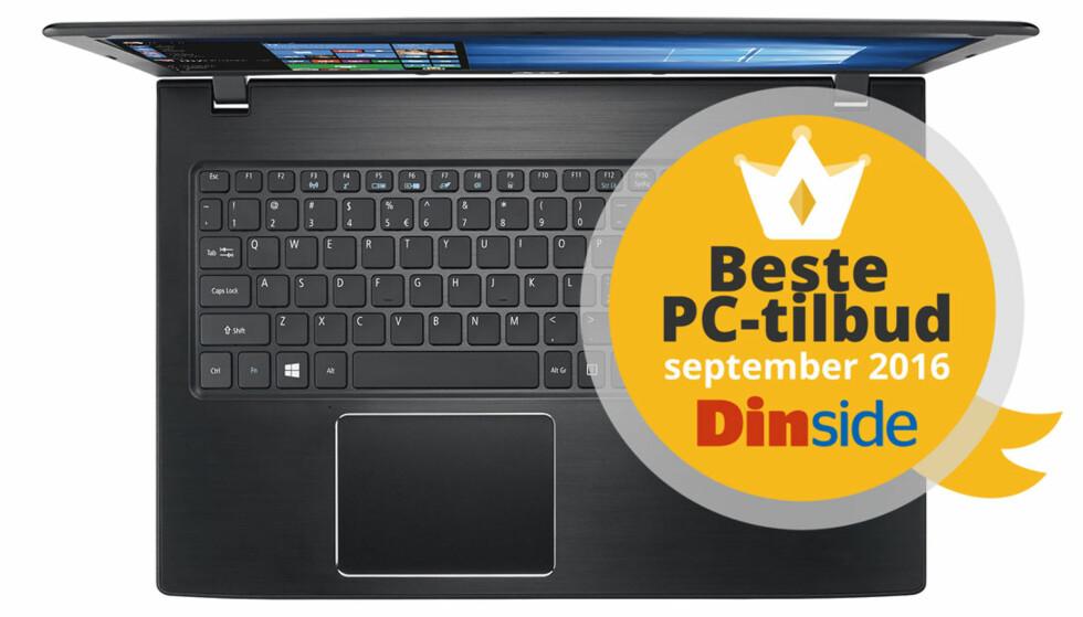 SJU TILBUD: Har du rundt 4.000 kroner å bruke på ny PC, har vi funnet noen trygge kjøp til deg. Ett av tilbudene er etter vår mening et halmstrå bedre enn de andre. Illustrasjon: Acer/Dinside.no