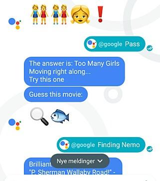 SPILL: Du kan også gjette filmer basert på emojier i Allos chatvindu. Foto: Pål Joakim Pollen
