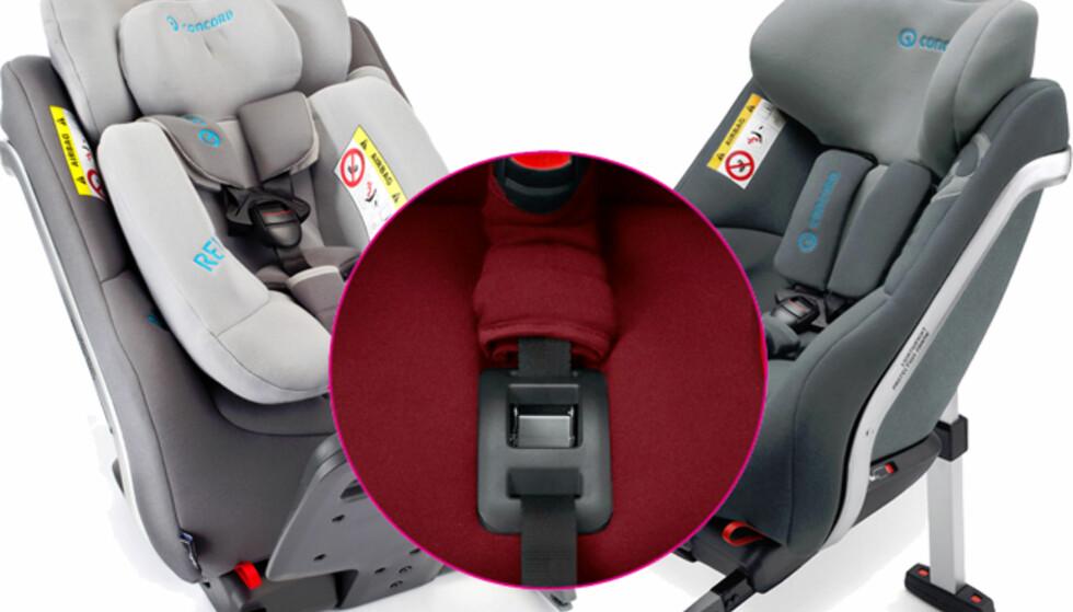 SIKKERHETSBRIST: Feilen er på mekanismen som sørger fort at barnet sitter trygt i setet ved sammenstøt. FOTO: Forbrukerrådet