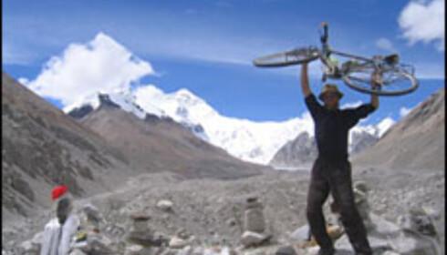 Mount Everest: Så langt men ikke lenger kom Jardar med sin sykkel.