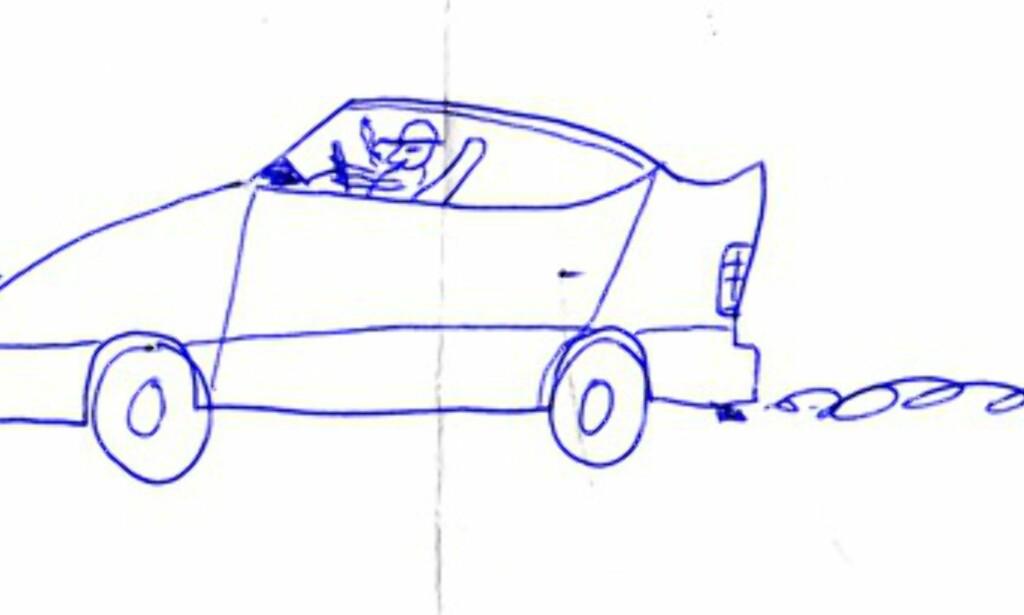 Er dette den første tegningen av en Toyota Prius? Det meste stemmer, bortsett fra eksosen og røykende mann med hatt (noen vil kanskje påstå at sistnevnte passer for toyotaførere?). At det stod Chevrolet TranzAm 9.5 liter over tegningen må vel også regnes som et lite avvik  (fra undertegnedes skrivebok fra klasse 3B Lone Skole, 1982)