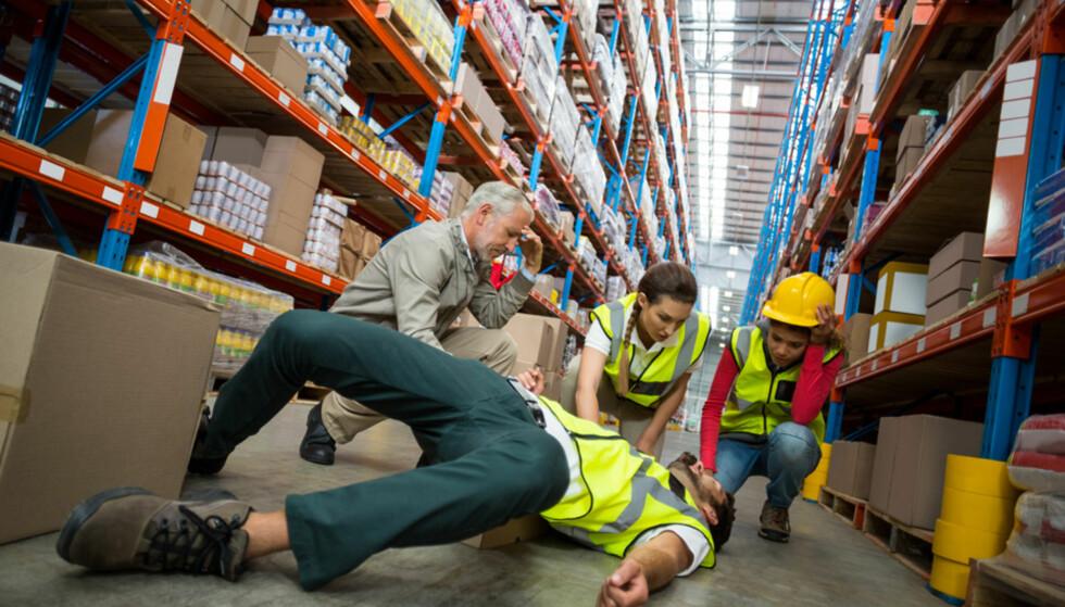 FLEST FALL: Arbeidsulykker forårsaket på grunn av fall, utgjør den største andelen av arbeidsulykkene.