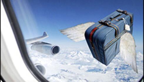 Bagasjen har en lei tendens til å forsvinne for flyselskapene. Illustrasjon: Per Ervland Foto: Per Ervland