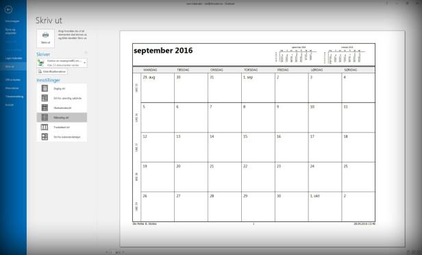 MÅNEDLIG STIL: I Outlook kan du skrive ut både ukes- og månedskalender, men du skal også kunne velge et datointervall om du ønsker det. Skjermdump: Ole Petter Baugerød Stokke