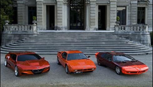 Fra høyre: Paul Bracqs BMW Turbo (1972), M1 (1978), M1 Hommage (2008).