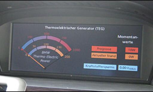 Her kan vi lese av effekten på den termoelektriske generatoren. Grafikken vises i iDrive-skjermen.