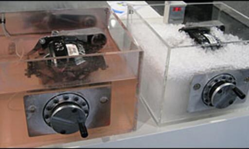 Her testet vi motstanden i varm og kald bakdifferensial.