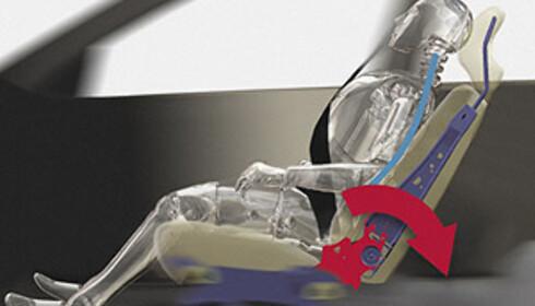 Volvo har satset på aktive seter, noe som betyr at hele setet er konstruert for å ta opp en størst mulig del av kollisjonsenergien (WHIPS).