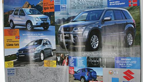 Denne Suzuki-annonsen, hentet fra siste utgave av Autofil, inneholder priser uten frakt- og leveringsomkostninger. Annonsen mangler forøvrig også informasjon om forbruk og CO2-utslipp.