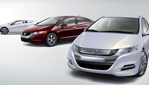 Insight Concept nærmest, brenselcellebilen FCX Clarity i midten og konseptbilen CR-Z bakerst Foto: Honda