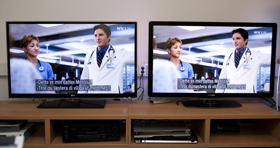 LG til venstre, Philips til høyre. Vi liker dem begge. Foto: Per Ervland