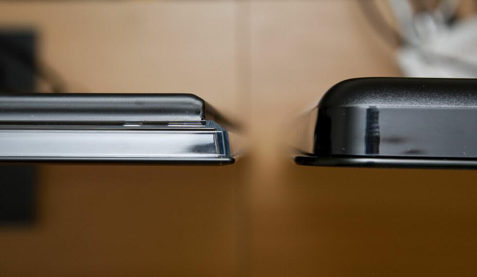 LG til venstre, Philips til høyre. Begge er slanke, men LG-en skiller seg ut. Foto: Per Ervland