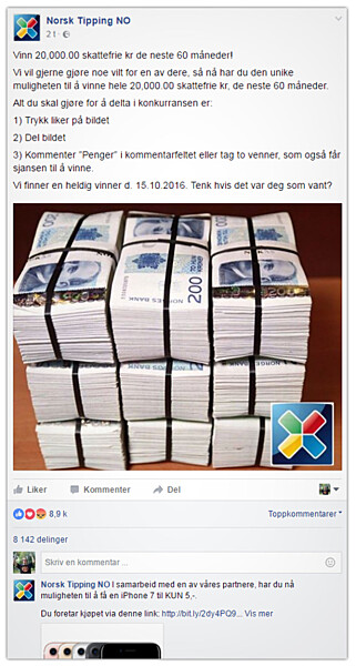 TUSENVIS LURES: Da denne skjermdumpen ble tatt hadde tallet økt fra omlag 4.000 til over 8.000 delinger på omlag ti minutter. Lenka under, som viser til en iPhone-svindel, er hva svindlerne egentlig vil ha deg videre over til. Som alltid er det penga dine de er ute etter. Foto: Ole Petter Baugerød Stokke