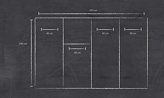 PLANLEGG: Det er viktig at målene er nøyaktige, slik at veggen passer inn der den skal være. Lag en arbeidstegning på forhånd. ILLUSTRASJON: Simen Søvik