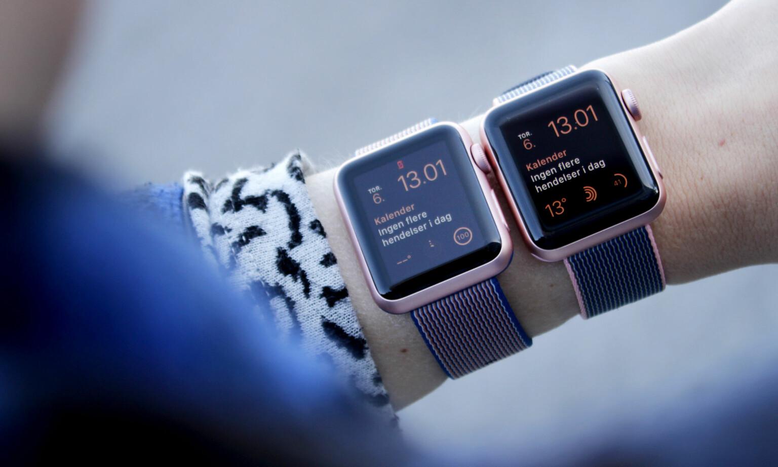 GANSKE LIKE: Det er ikke lett å se forskjell på gamle og nye Apple Watch. Foto: Ole Petter Baugerød Stokke
